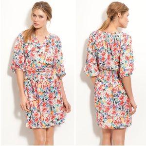 Eliza J Crêpe de Chine Floral Print Shirt Dress
